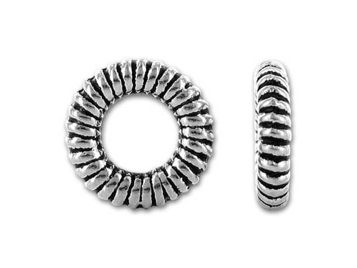 TierraCast Silver Antique large Coiled Ring Bead