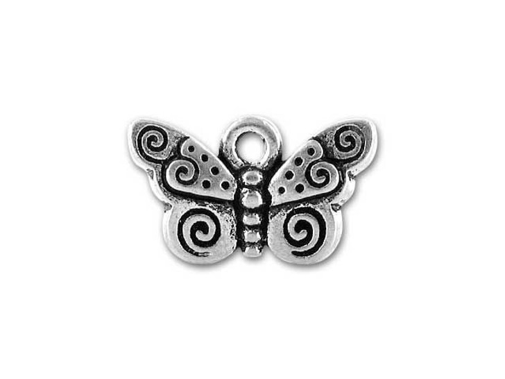TierraCast Silver Antique Spiral Butterfly Charm