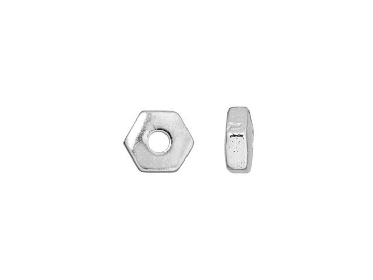 TierraCast Silver-Plated Pewter 4mm Hex Heishi Spacer