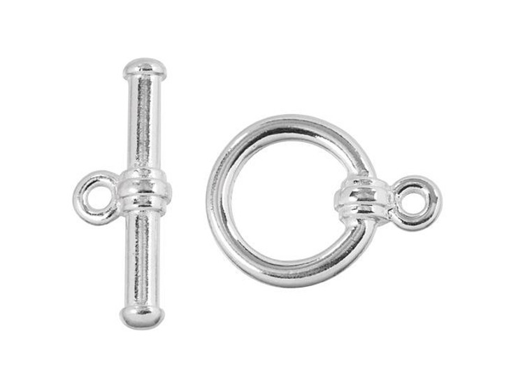 TierraCast Silver-Plated Pewter Bar & Ring Clasp Set