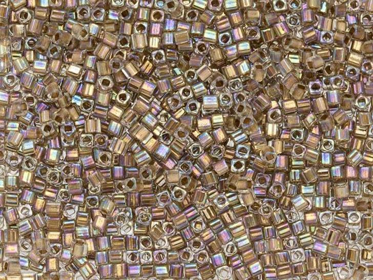 TOHO 1.5mm Cube Seed Bead 24K Gold-Lined Rainbow Crystal, 2.5-Inch Tube