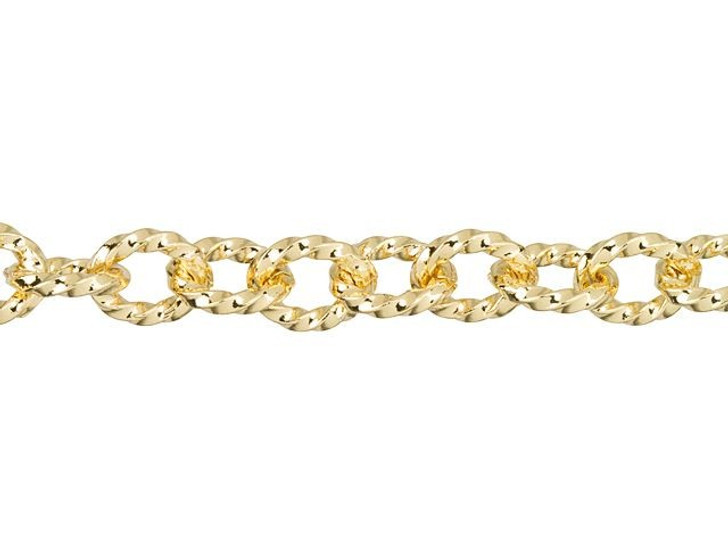 7.5x6mm Gold-Plated Twisted Link Chain By the Foot