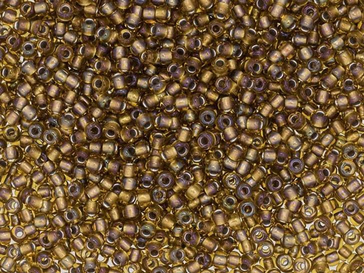 TOHO 11/0 Round Seed Bead 24K Gold-Lined Rainbow Topaz, 2.5-Inch Tube