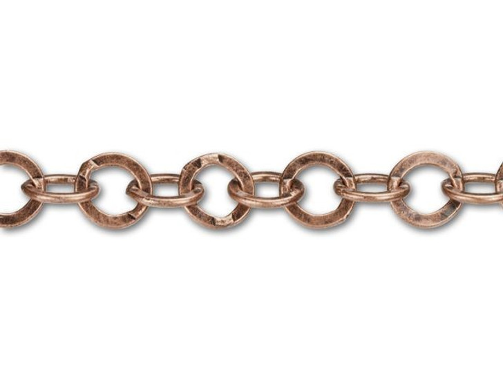 7.9x7.5mm Antique Copper-Plated Smooth Flat Cable Chain by the Foot
