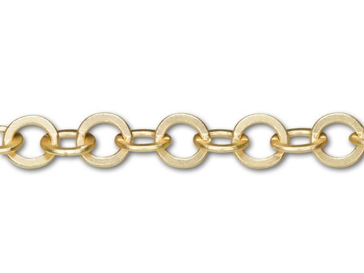 7.9x7.5mm Satin Hamilton Gold-Plated Smooth Flat Cable Chain By the Foot