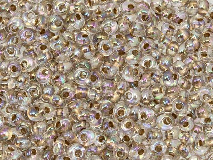 TOHO 3mm Magatama Seed Bead 24K Gold-Lined Rainbow Crystal, 2.5-Inch Tube