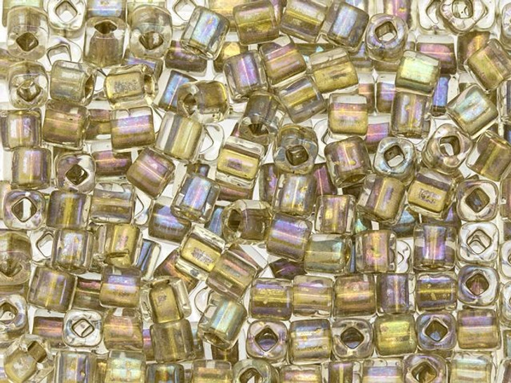 TOHO 4mm Cube Seed Bead Inside-Color Crystal/24K Gold-Lined, 2.5-Inch Tube