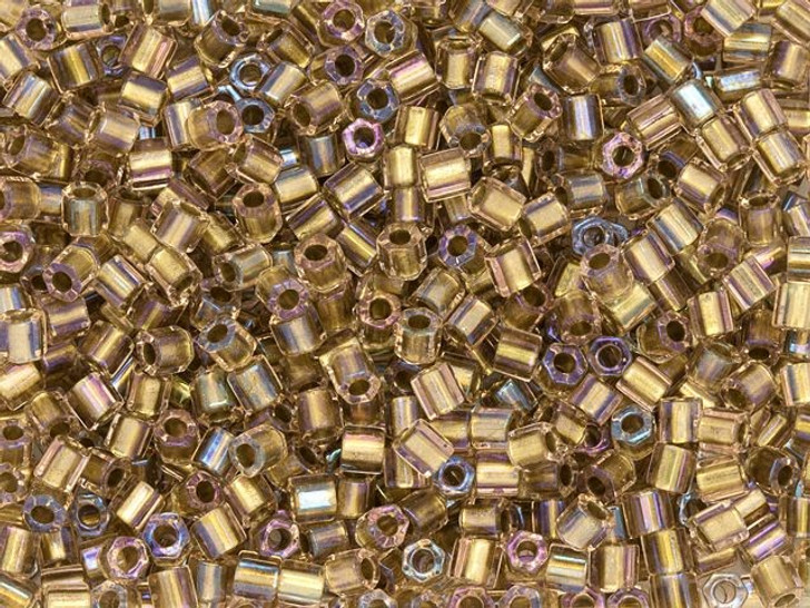 TOHO 8/0 Hexagon Seed Bead Inside-Color Rainbow Crystal/24K Gold-Lined, 2.5-Inch Tube