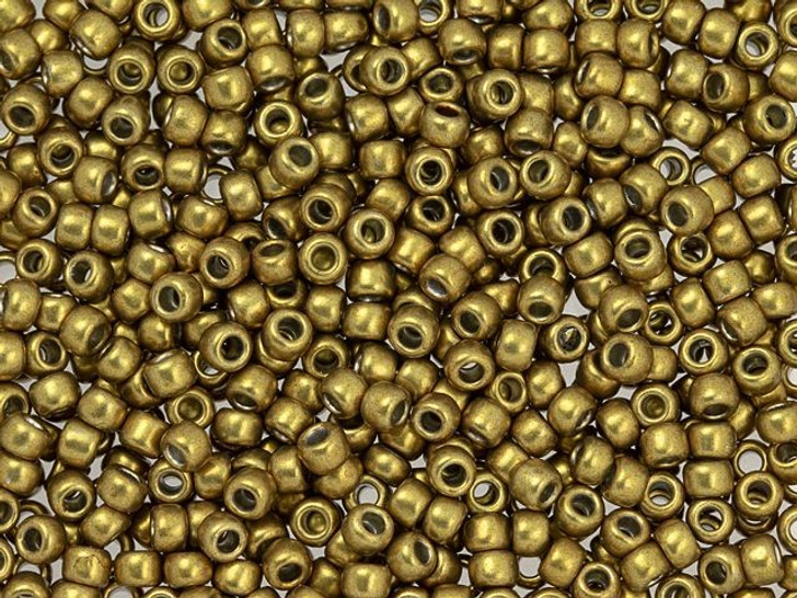 TOHO 8/0 Round Bead Hybrid ColorTrends Metallic Spicy Mustard 2.5-Inch Tube