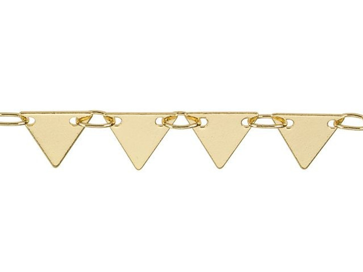 7mm Gold-Plated Brass Solid Triangle Drop Chain By the Foot