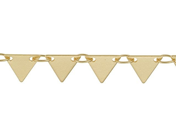 7mm Satin Hamilton Gold-Plated Brass Solid Triangle Drop Chain by the Foot