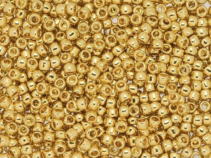 TOHO 8/0 Round Seed Bead Metallic 24K Gold-Plated, 2.5-Inch Tube