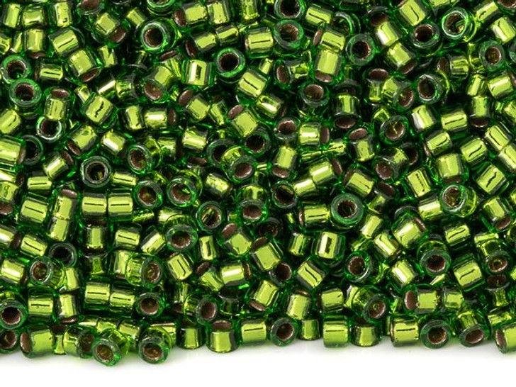 TOHO Aiko 11/0 Copper-Lined Peridot Precision Cylinder Seed Beads, 4g Pack