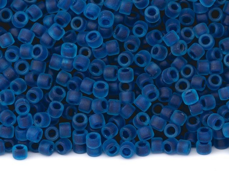 TOHO Aiko 11/0 Frosted Capri-Lined Aqua Precision Cylinder Seed Beads, 4g Pack