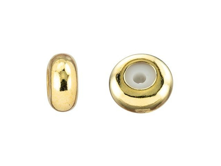 8 x 5mm Gold Round String-On Clasp with Silicone Grommet