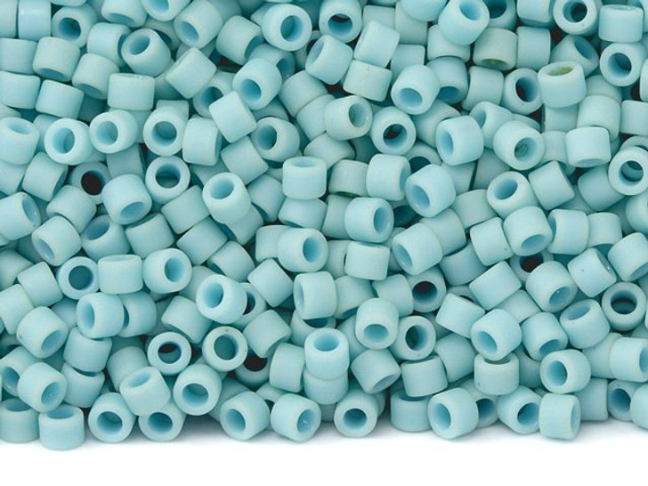 TOHO Aiko 11/0 Opaque Matte Lt Turquoise Precision Cylinder Seed Beads, 4g Pack
