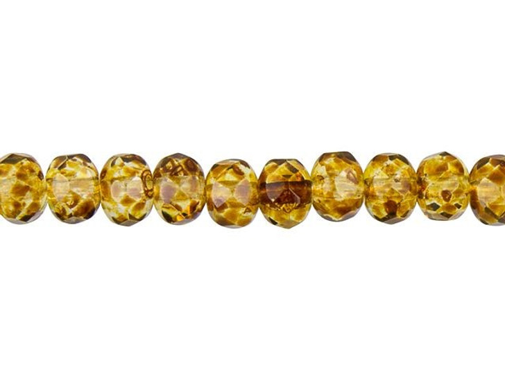 Czech Glass 3x5mm Amber with Picasso Faceted Roundel Bead Strand by Raven's Journey