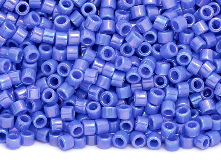 TOHO Aiko 11/0 Opaque Periwinkle Rainbow Precision Cylinder Seed Beads, 4g Pack