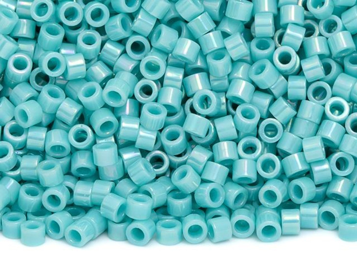 TOHO Aiko 11/0 Opaque Turquoise Rainbow Precision Cylinder Seed Beads, 4g Pack