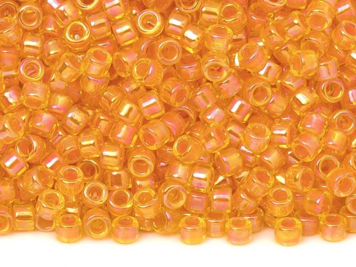 TOHO Aiko 11/0 Orange-Lined Jonquil Rainbow Precision Cylinder Seed Beads, 4g Pack