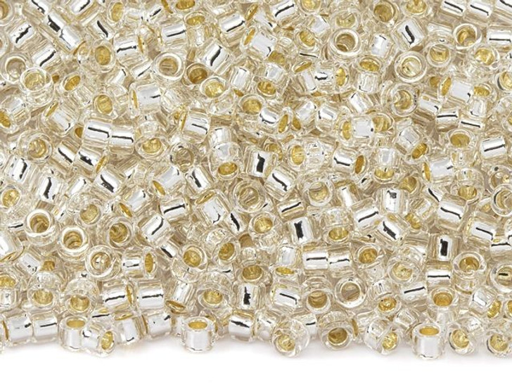 TOHO Aiko 11/0 PermaFinish Silver-Lined Transparent Crystal Precision Cylinder Seed Beads, 4g Pack