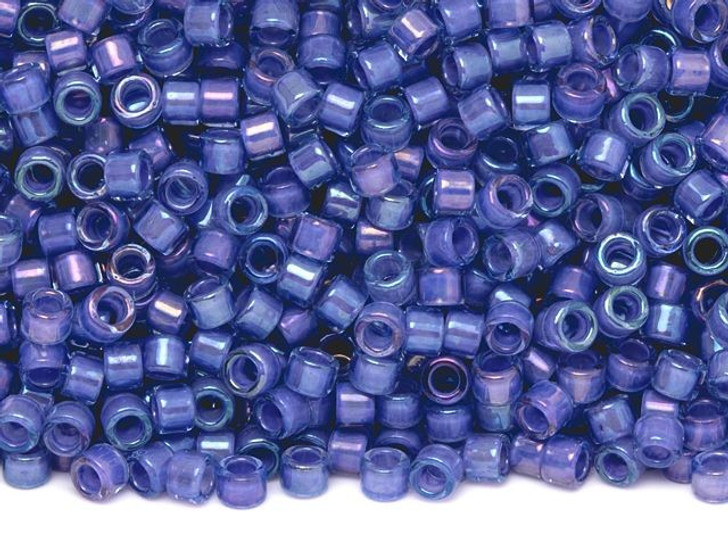 TOHO Aiko 11/0 Purple-Lined Lt Sapphire Precision Cylinder Seed Beads, 4g Pack