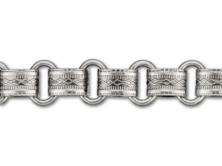 8.5mm Antique Silver-Plated Brass Vintage Reproduction Chain by the Foot