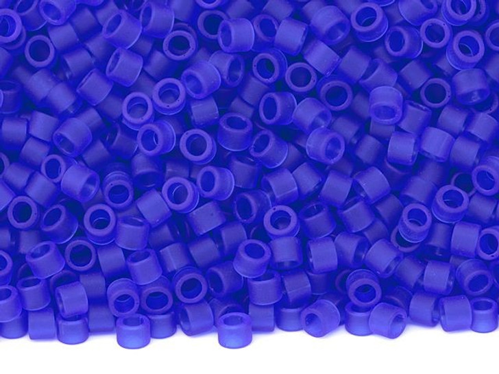 TOHO Aiko 11/0 Transparent Frosted Dark Sapphire Precision Cylinder Seed Beads, 4g Pack