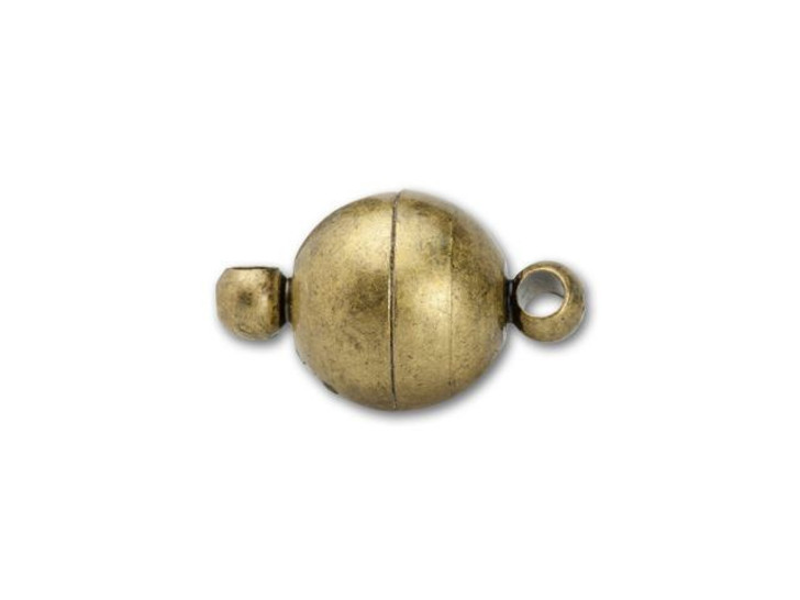 8mm Antique Brass Round Magnetic Clasp