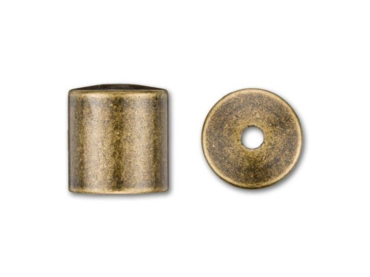 8mm Antique Brass-Plated Cord End Cap