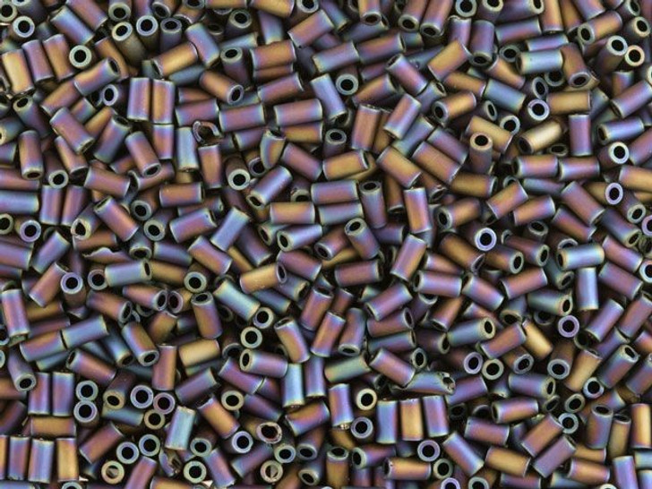 TOHO Bead Bugle 3mm Matte Raku Blue/Purple Iris, 8g bag