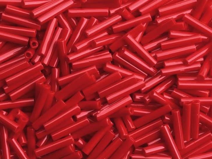 TOHO Bead Bugle 9mm Opaque Pepper Red, 8g bag