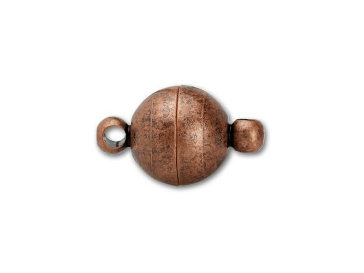 8mm Antique Copper-Plated Round Magnetic Clasp