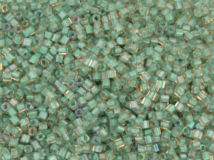 TOHO Bead Cube 1.5mm Aqua Lined Yellow, 2.5-Inch Tube