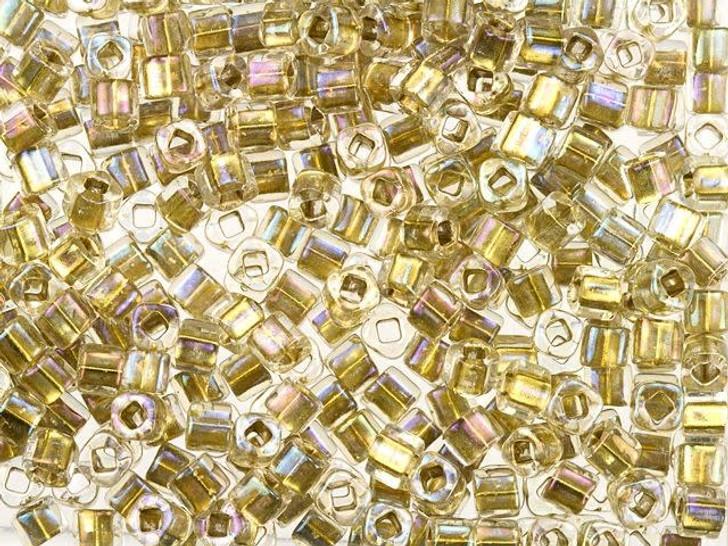 TOHO Bead Cube 3mm Gold-Lined Crystal 2.5-Inch Tube