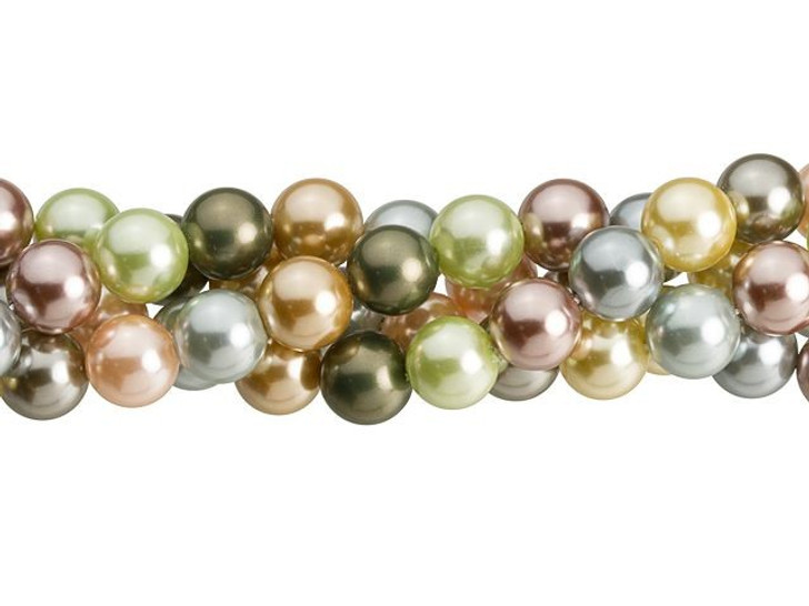 8mm Dark Multi-Color Round Mother of Pearl Bead Strand