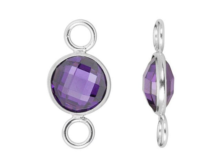 8mm Faceted Amethyst Cubic Zirconia Sterling Silver Connector Link
