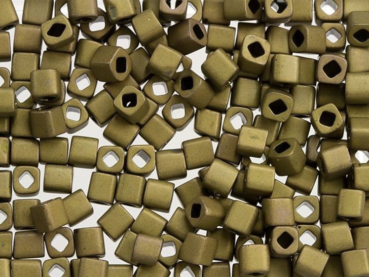 TOHO Bead Cube 4mm Frosted Antique Bronze 2.5-Inch Tube