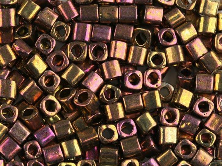 TOHO Bead Cube 4mm Galvanized Gypsy Gold 8g Bag