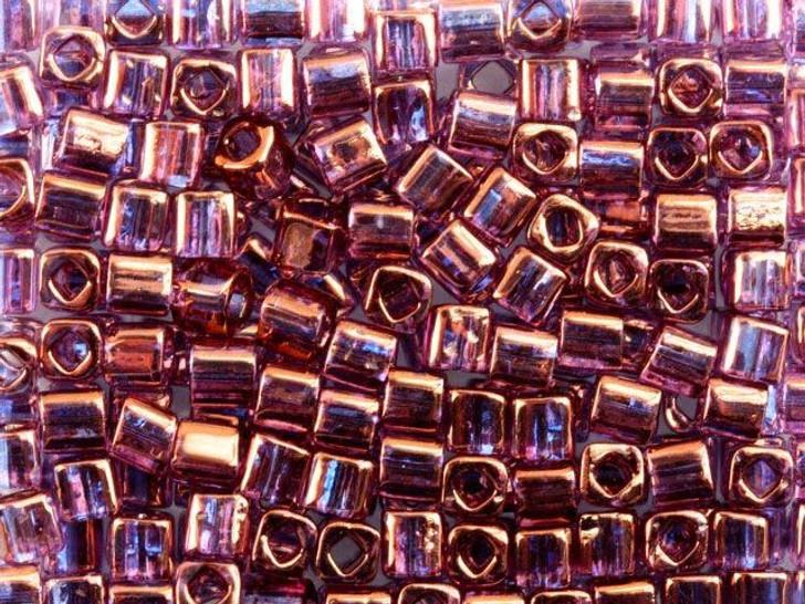 TOHO Bead Cube 4mm Gold-Lustered Amethyst 8g Bag