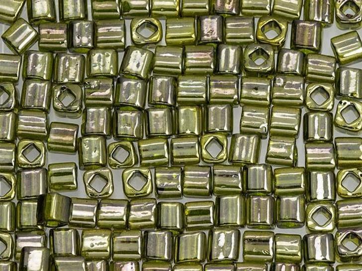 TOHO Bead Cube 4mm Gold-Lustered Green Tea 2.5-Inch Tube