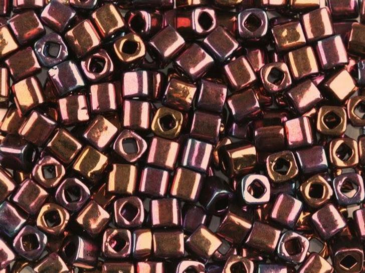 TOHO Bead Cube 4mm Higher-Metallic Dark Plum Iris 8g Bag