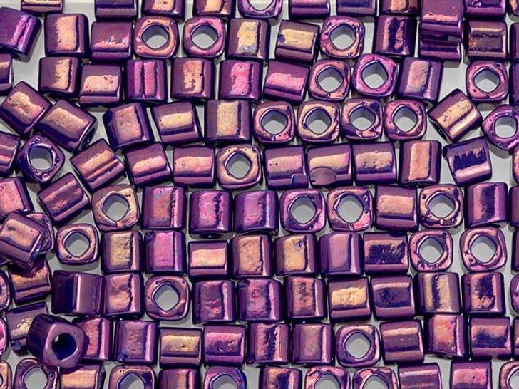 TOHO Bead Cube 4mm Higher-Metallic Grape 2.5-Inch Tube