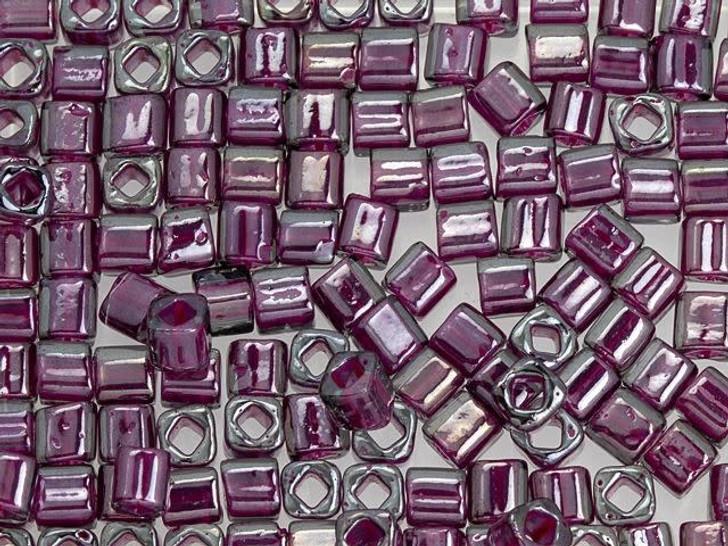 TOHO Bead Cube 4mm Inside-Color Gray/Magenta-Lined 2.5-Inch Tube