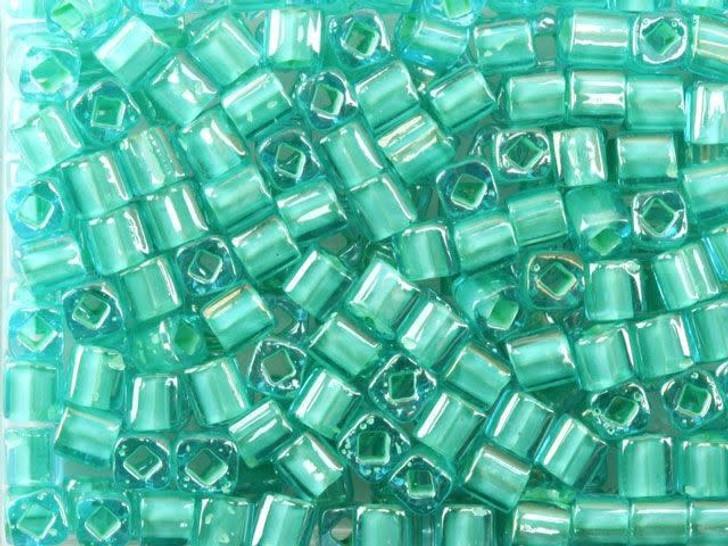 TOHO Bead Cube 4mm Lt Jonquil-Lined Aqua, 2.5-Inch Tube