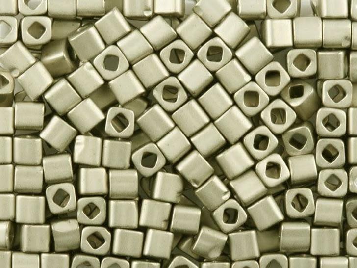 TOHO Bead Cube 4mm Matte Pewter 8g Bag