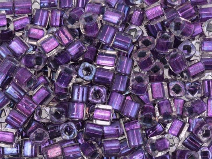 TOHO Bead Cube 4mm Metallic Purple Lined Crystal AB, 2.5-Inch Tube
