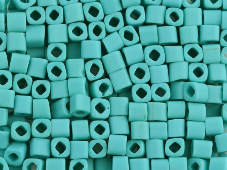 TOHO Bead Cube 4mm Opaque-Frosted Turquoise, 2.5 Inch Tube