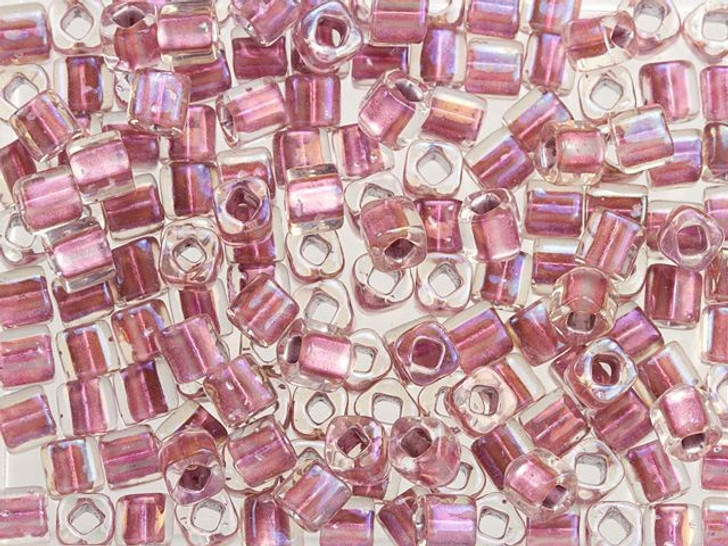 TOHO Bead Cube 4mm Rose-Lined Crystal 8g Bag