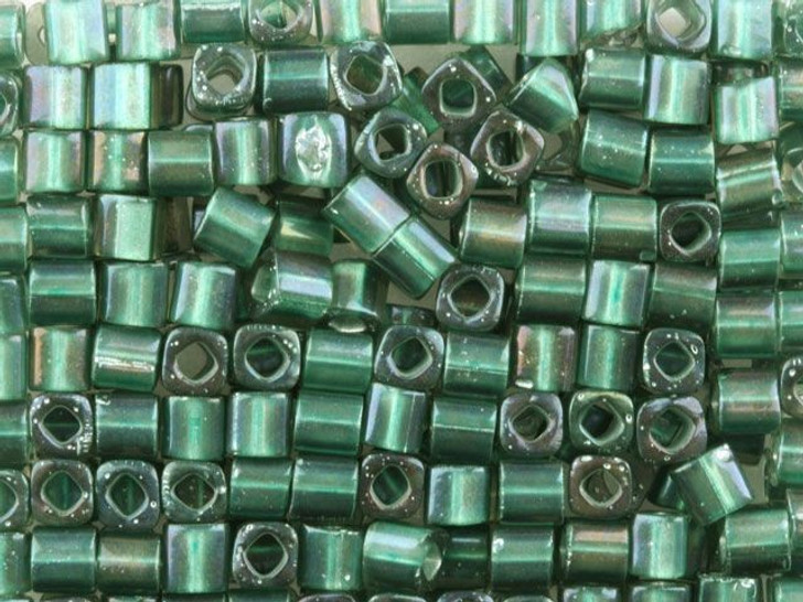 TOHO Bead Cube 4mm Teal Lined Crystal, 2.5-Inch Tube